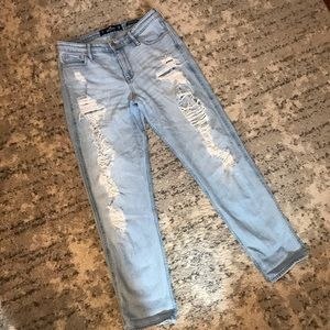 Hollister Light Wash Distressed High Rise Jeans